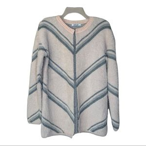 Blush and Gray Open Front Fuzzy Cardigan Sweater M